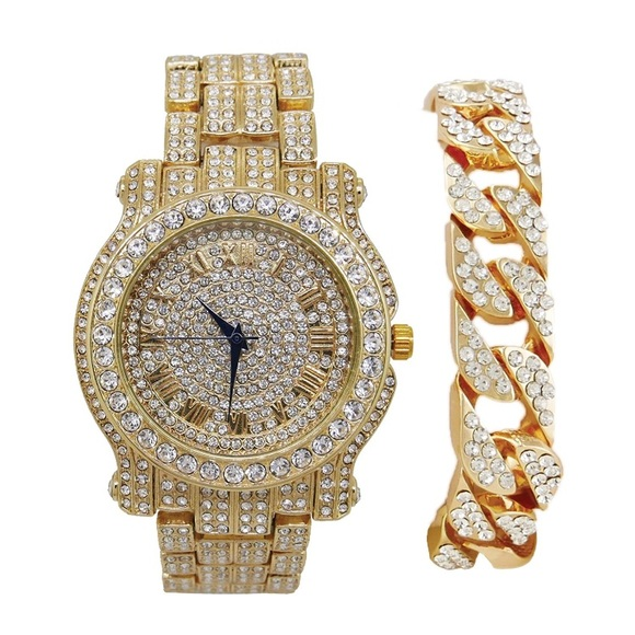 f49d47f94197f Mens 14K Gold Plated Iced Out Watch with Bracelet NWT